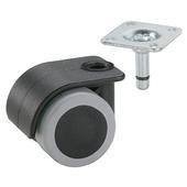 Meubelwiel parket grijs/zwart 35 mm met plaat (max. 70 kg)
