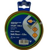 Profile huishoudsnoer plat brons 2x 0,75 mm² 7,5 m