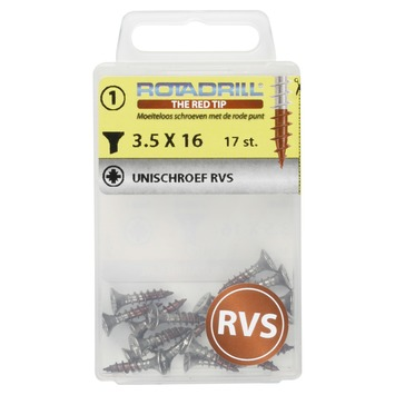 ROTADRILL unischroef platkop rvs 3,5x16 mm (17 stuks)