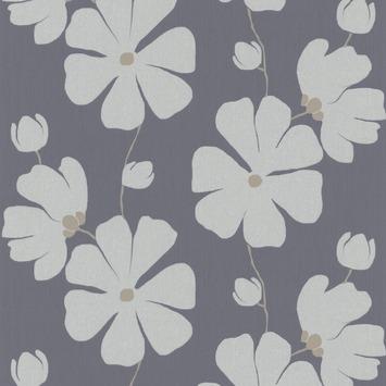 Vliesbehang bloem blauw (dessin 4077-60)