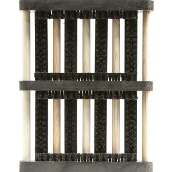 Borstelmat brush zwart 27x35cm