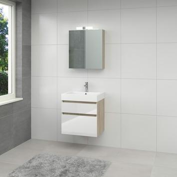 Bruynzeel Monta badmeubelset met spiegelkast 60 cm grijs eiken/wit ...