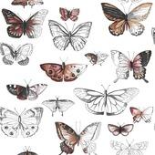 Papierbehang vlinders oranje (dessin 50-659)
