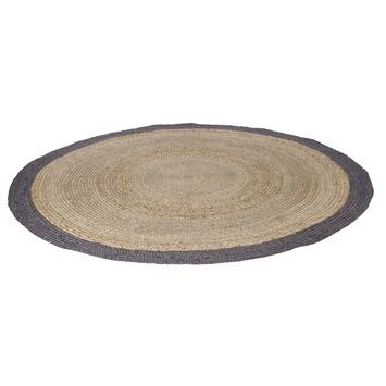 woood vloerkleed sisal naturel met grijze rand rond 200 cm kopen vloerkleden karwei. Black Bedroom Furniture Sets. Home Design Ideas