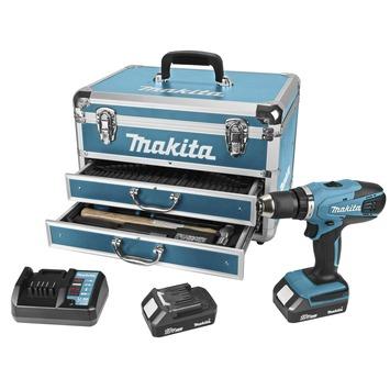Makita accuboormachine DF457DWEX6 + 102-delige accessoireset