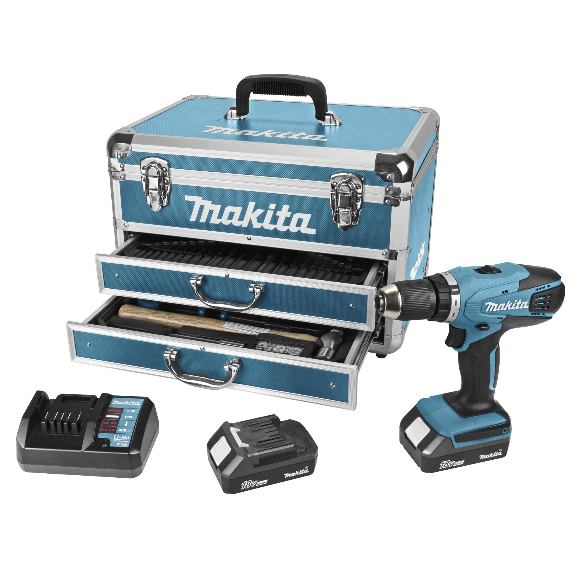 Makita accu boormachine DF457DWEX6 + 102-delige accessoireset