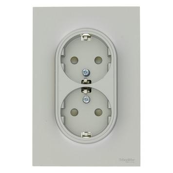 Schneider Electric Merten Odace stopcontact dubbel geaard aluminium
