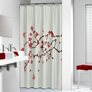 Sealskin Blossom douchegordijn rood 180 x 200 cm