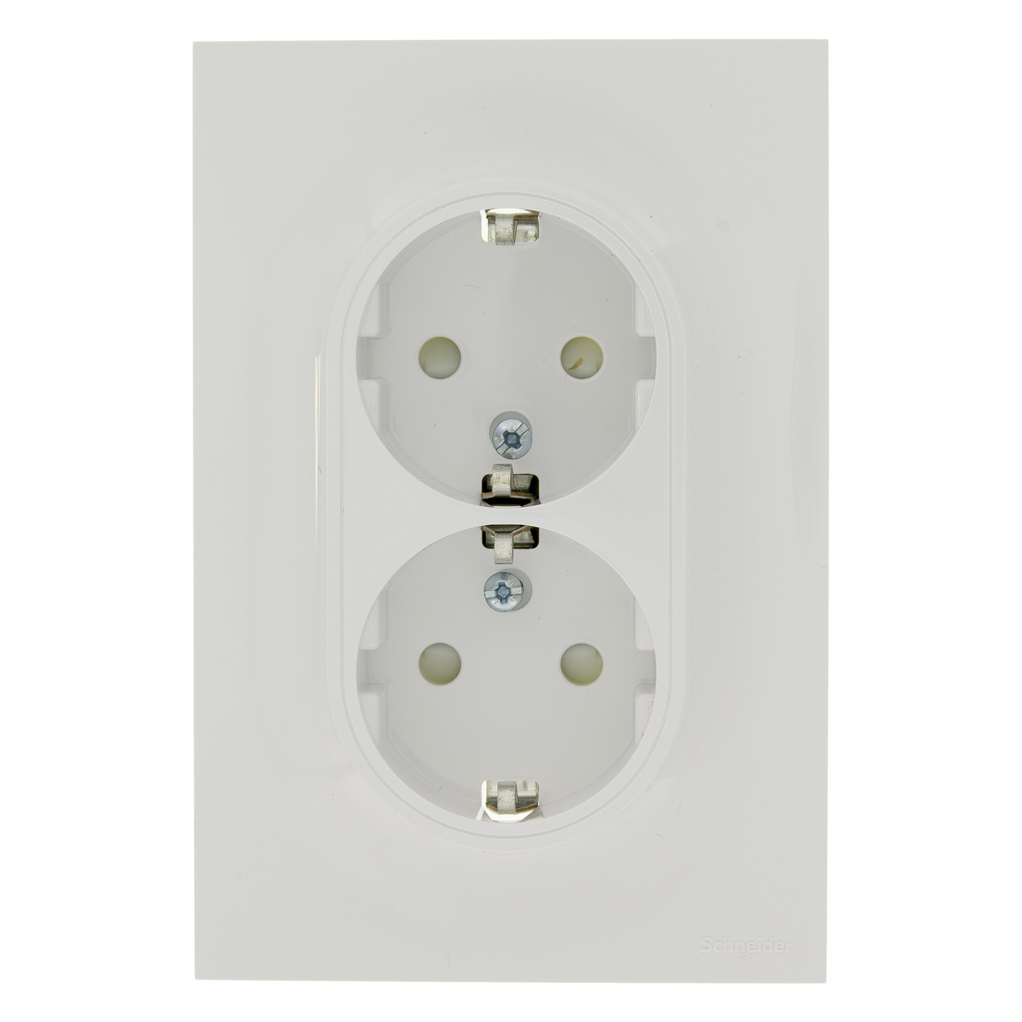 Schneider electric merten odace stopcontact dubbel ra wit, voor montage op contactpunten ten behoeve van ...