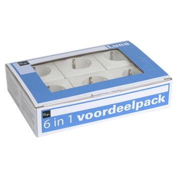 Plieger Luna stopcontact geaard aluminium (6 stuks) voordeeldoos