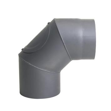 Kachelpijp bocht 90° enkelwandig antraciet Ø150 mm