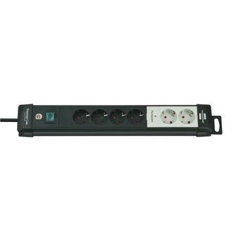 Brennenstuhl Premium-Line Technik 2+4-voudig met schakelaar zwart/grijs 3 meter snoer