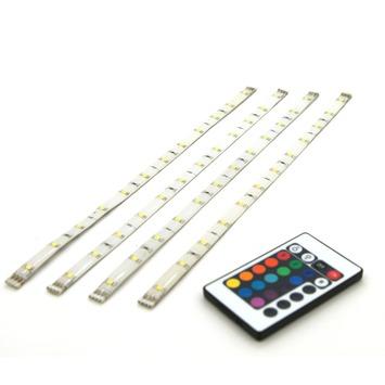 Prolight LED-strips gekleurd 30 cm met afstandsbediening (IP44) 4 stuks