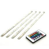 Prolight LED-strips gekleurd 40 cm met afstandsbediening (IP20) 4 stuks