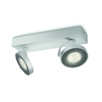 Philips duospot Clockwork aluminium - Incl 2X LED 4W dimbaar