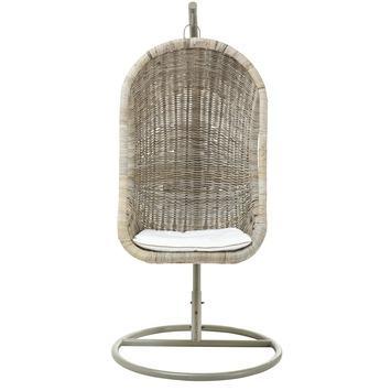 Hangstoel Rotan antiek grijs 120x77x73 cm