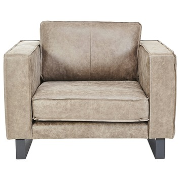 Taupe Kleurige Fauteuil.Loveseat Fauteuil Long Island Leder Taupe