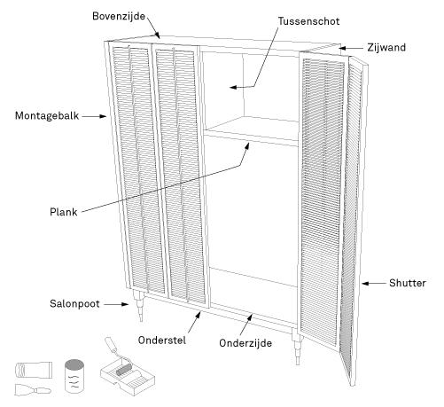 maak een kast met deuren van shutters karwei