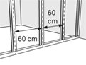 Plaats de open zijdes in dezelfde richting als de eerste staander.
