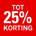 25 procent korting rood tot