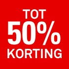 50 procent korting rood tot